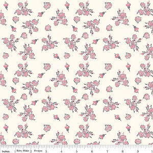 Think Pink C3702 Cream Floral by Riley Blake