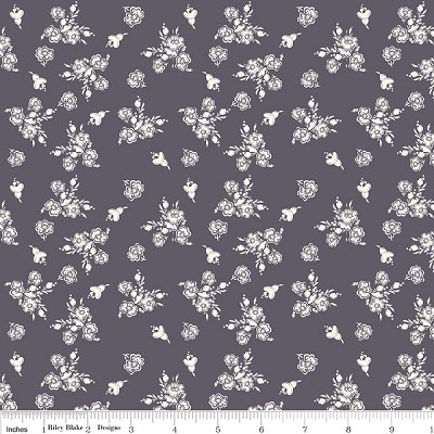 Think Pink C3702 Gray Floral by Riley Blake