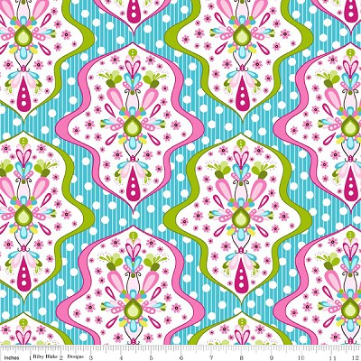 Floriography C3941 Blue Damask by Pink Fig for Riley Blake EOB