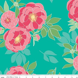 The Cottage Garden C4220 Teal Main by Riley Blake