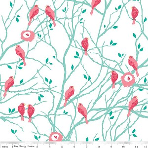 The Cottage Garden C4221 Teal Birds by Riley Blake