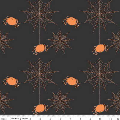 Holiday Banners C565 Black Spider Webs by Riley Blake