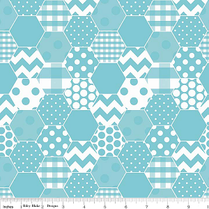 Hexi Print C770-20 Aqua by Riley Blake