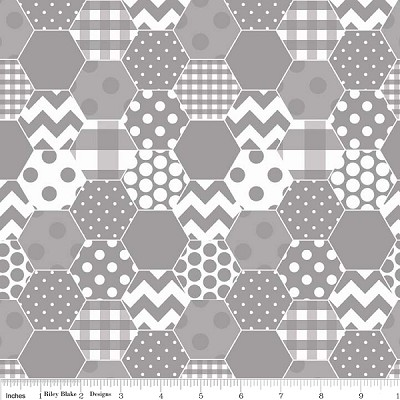 Hexi Print C770-40 Gray by Riley Blake