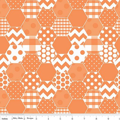 Hexi Print C770-60 Orange by Riley Blake
