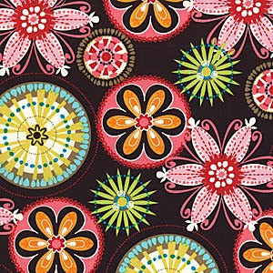 Carnival Bloom Laminated Cotton LC3028 Brown by Michael Miller