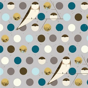 Charley Harper Organic KNIT K-CH-07 Blue Bank Swallow by Birch