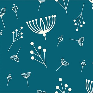 Charley Harper Organic CH-11 Teal Twigs by Birch