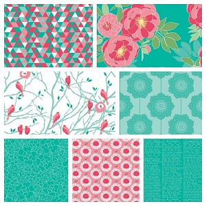 The Cottage Garden 7 Fat Quarter Set in Teal by Riley Blake