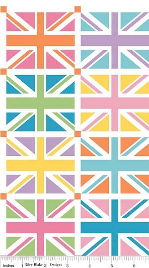 Union Jack DC570 Orange Squares Panel by Riley Blake