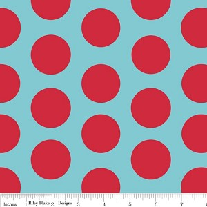 Dots Large C370-04 Aqua Red by Riley Blake
