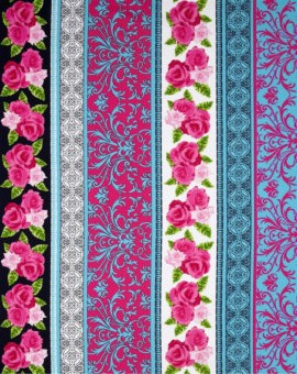 English Rosey 6438-84 Turquoise English Rose Stripe by Kanvas