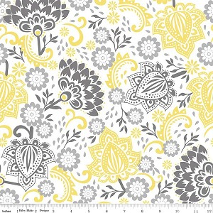 Evening Blooms C3510 Yellow Main by Carina Gardner for Riley Blake