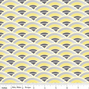 Evening Blooms C3513 Yellow Rainbow by Carina Gardner for Riley Blake