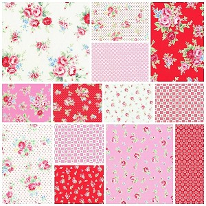 Flower Sugar Fall '13  Red/Pink 13 Fat Quarter Set by Lecien