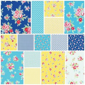 Flower Sugar Fall '13  Blue/Yellow 15 Fat Quarter Set by Lecien
