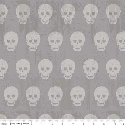 Geekly Chic C511-02 Gray Skulls by Riley Blake