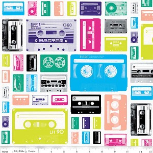 Geekly Chic C514-02 White Cassettes by Riley Blake