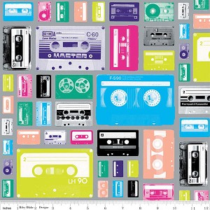 Geekly Chic C514-03 Gray Cassettes by Riley Blake