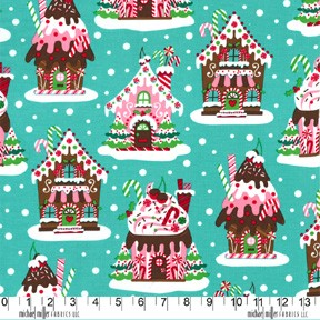 Gingerbread Houses CX5952 Aqua by Michael Miller