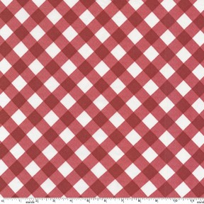 Bias Gingham Laminated Cotton LD5250 Red by Michael Miller