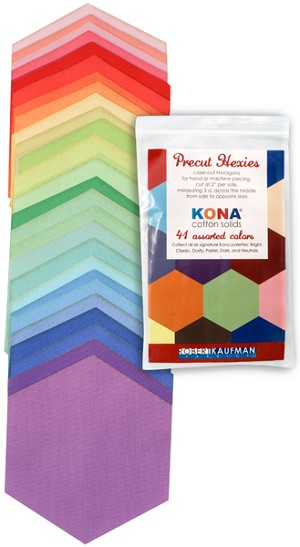 Kona Cotton Precut Hexies in Bright by Robert Kaufman