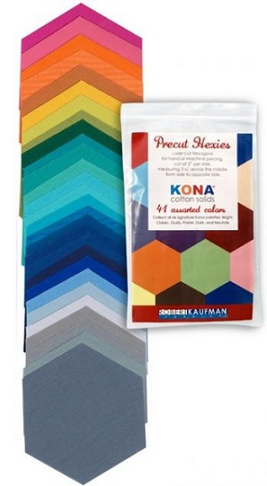 Kona Cotton Precut Hexies in New Summer '13 by Robert Kaufman