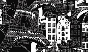 Illustrations 760-K Paris on Black by P & B Textiles
