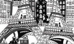 Illustrations 760-W Paris on White by P & B Textiles