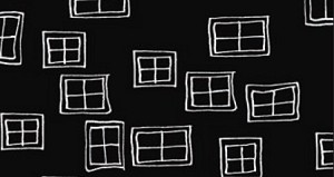 Illustrations 761-K Windows on Black by P & B Textiles