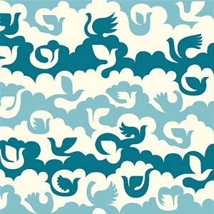 Ipanema Organic DB-04 Blue Birds & Clouds by Dennis Bennett for Birch