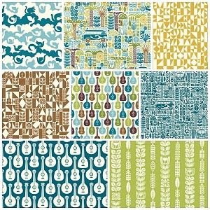 Ipanema Organic Boy 8 Fat Quarter Set by Dennis Bennett for Birch