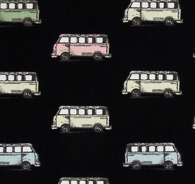 Vintage Scrapbook 3713-12 Black Mini Vans by Benartex