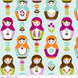 Little Matryoshka C3310-Aqua Matryoshka Dolls by Riley Blake