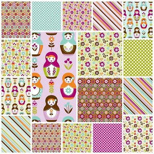 Little Matryoshka 17 Fat Quarter Set by Riley Blake
