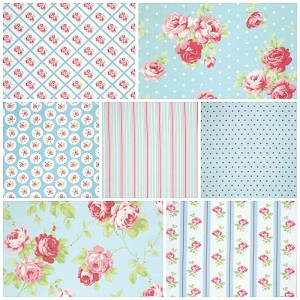 Lulu Roses 7 Fat Quarter Set in Sky by Tanya Whelan for Free Spirit