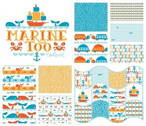 Marine Too Organic 10 Fat Quarter Set by Dan Stiles for Birch