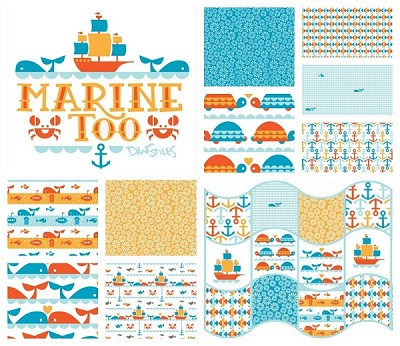 Marine Too Organic 9 Fat Quarter Set by Dan Stiles for Birch