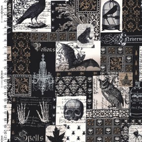Nevermore DC5522 Black Nevermore Collage by Michael Miller