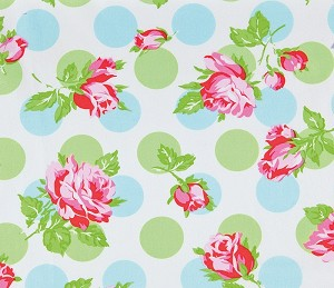 Sugar Hill OCTW002 Blue Falling Roses Laminated Cotton
