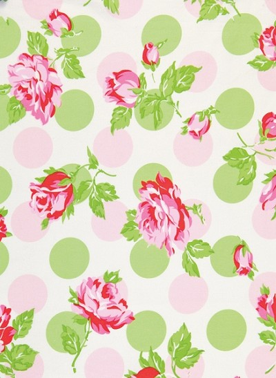 Sugar Hill OCTW002 Pink Falling Roses Laminated Cotton