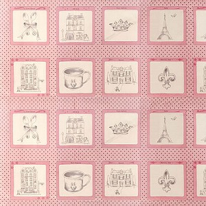 Ooh La La 2830-12 Pink Panel by Bunny Hill for Moda