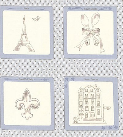 Ooh La La 2830-13 Blue Panel by Bunny Hill for Moda