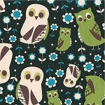 Owls on Black 4180-81D by Kokka of Japan