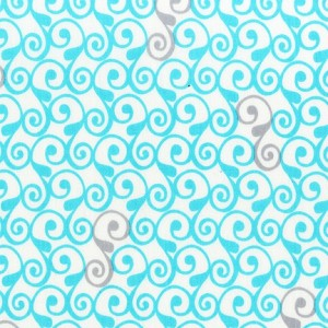 Perfectly Perched 12850-70 Aqua Swirls by Robert Kaufman