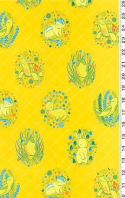 Picnic Pals Organic Y1001-9 Yellow Animals by Clothworks EOB