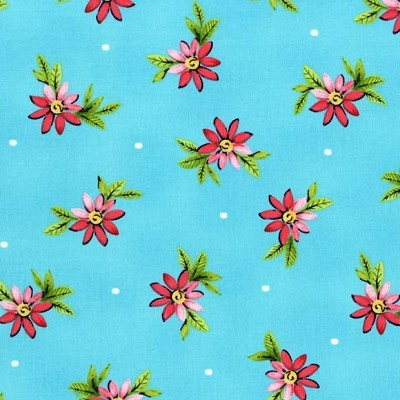 Delightful SG6147 Turquoise Playful Posies by Michael Miller
