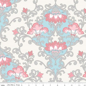 Priscilla C3361 Blue Damask by Lila Tueller for Riley Blake