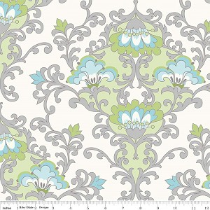 Priscilla C3361 Green Damask by Lila Tueller for Riley Blake