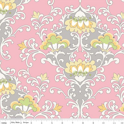 Priscilla C3361 Pink Damask by Lila Tueller for Riley Blake